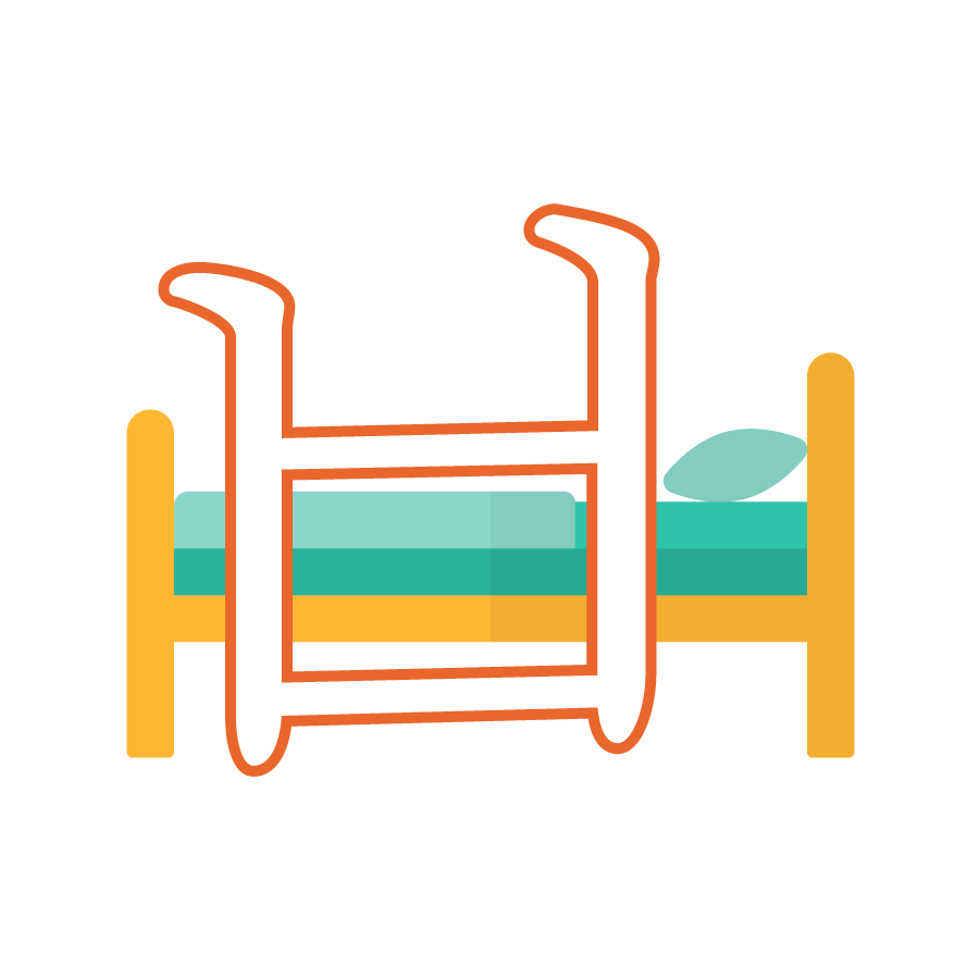 Illustration of the Korean alphabet letter ㅂ 비읍 bieup in front of a bed