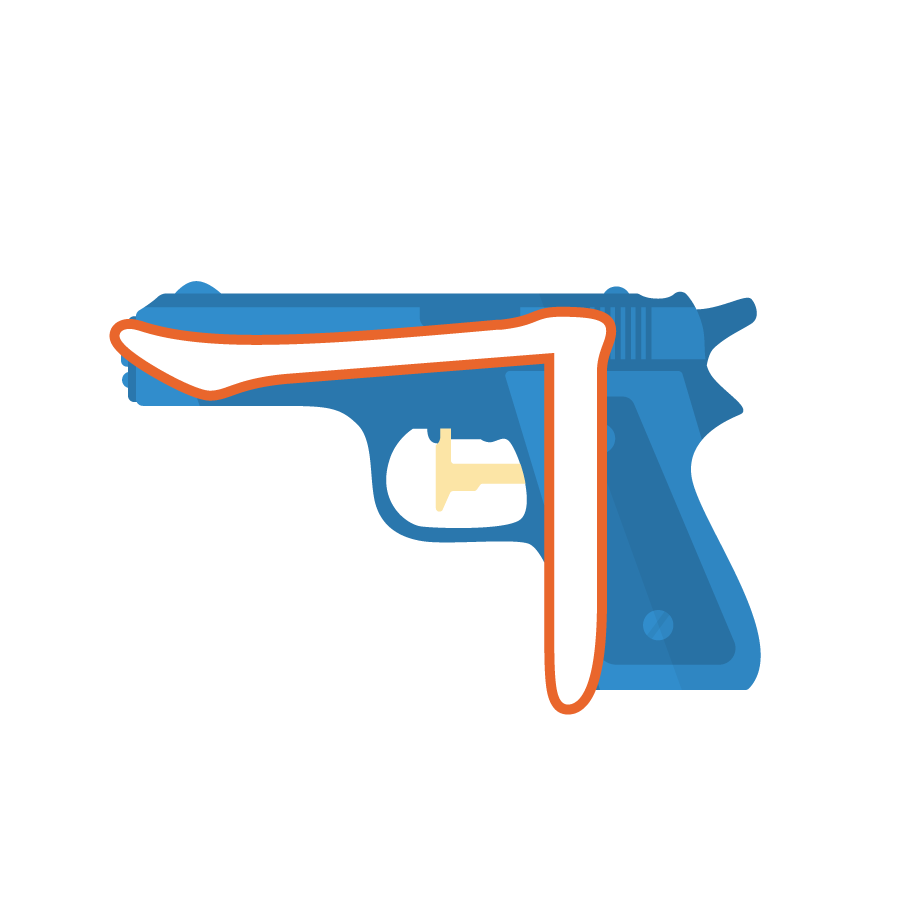 Illustration of the Korean alphabet letter ㄱ 기역 giyeok in front of a blue gun