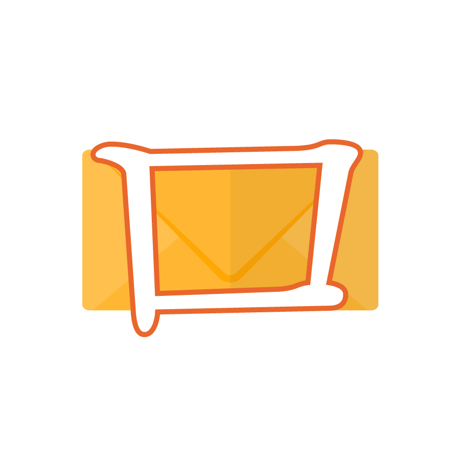 Illustration of the Korean alphabet letter ㅁ 미음 mieum in front of a yellow envelope