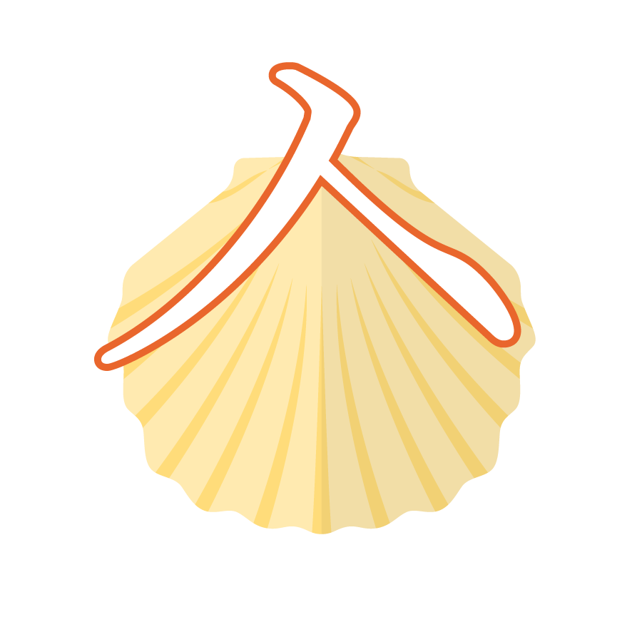 Illustration of the Korean alphabet letter ㅅ 시옷 siot in front of a yellow seashell