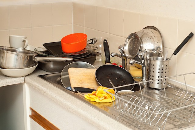 Don't let your flash cards pile up like these dishes!