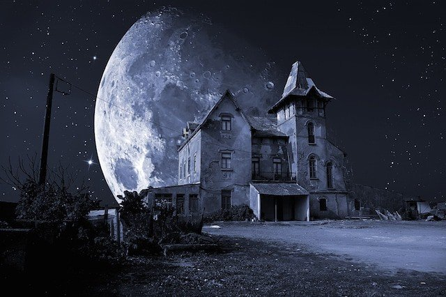 An abandoned haunted house for Halloween holiday.
