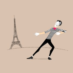 Illustration of a street mime pretending to pull the Eiffel Tower