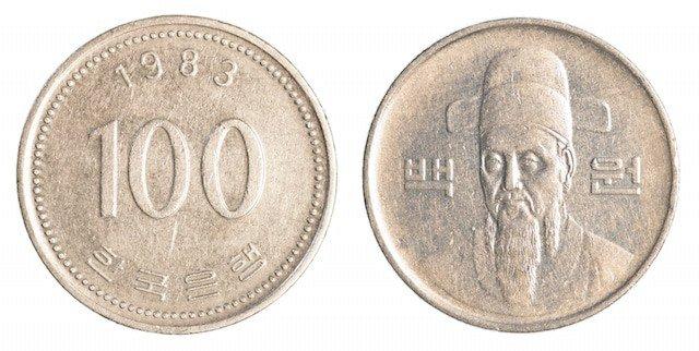 100 South Korean Wons Coin