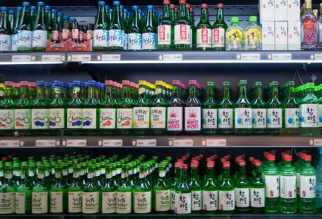 Various kinds of Korean alcohol such as soju and cheongha in a grocery store