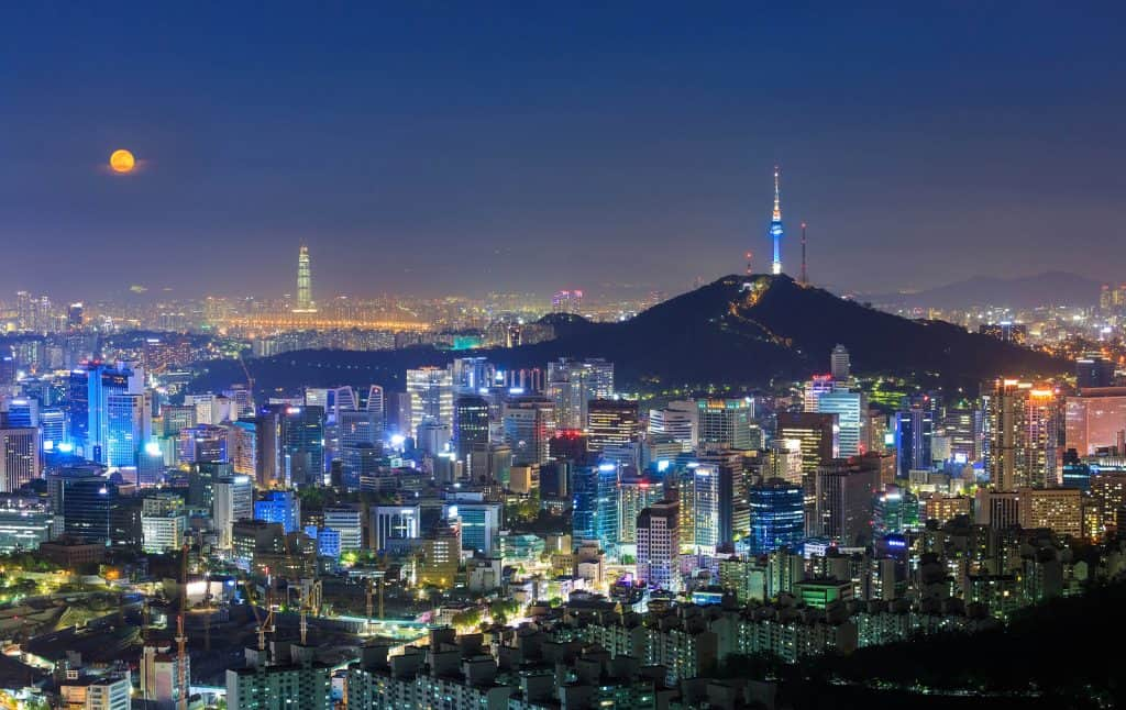 Skyline of Seoul at night with Namsan Tower in the background