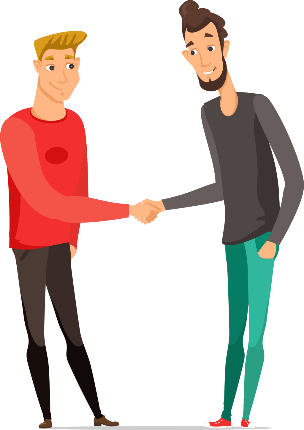 Illustration of a young blonde man in a red shirt shaking hands with a tall black-haired bearded man in a black shirt