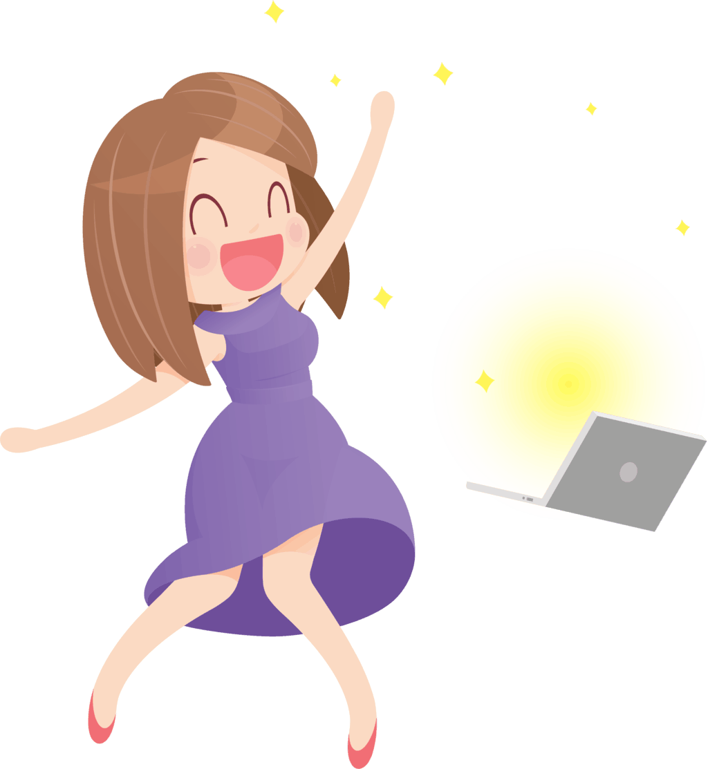Illustration of a woman happily using a computer
