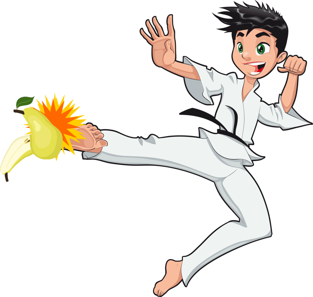 Illustration of young boy karate kicking a pear to chop it