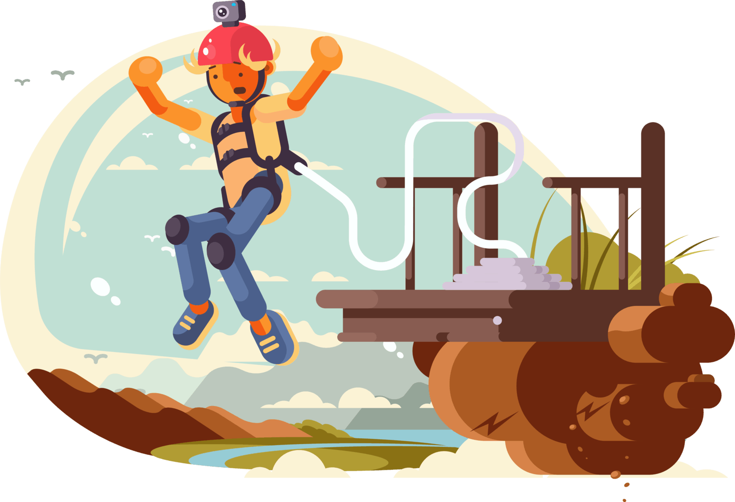 Illustration of a person bungee jumping from a cliff