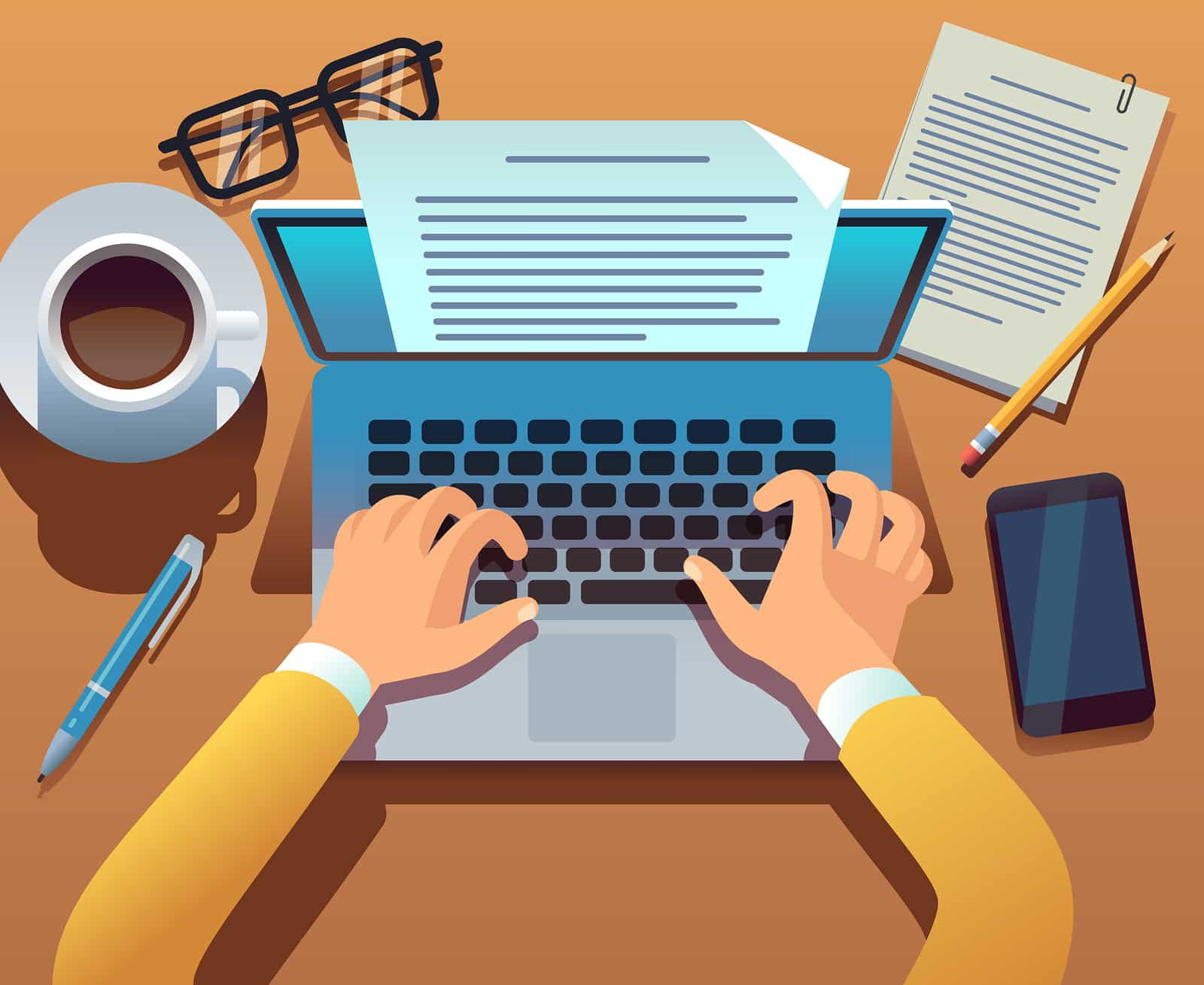 Illustration of someone typing on a computer with a coffee glasses and a smartphone on the table nearby