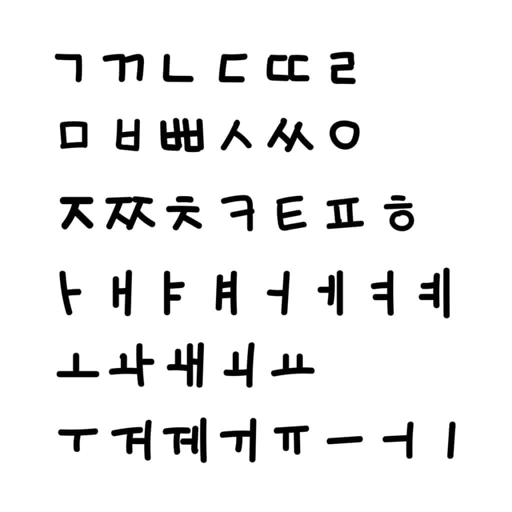 Hand written Korean Alphabet Letters Hangeul