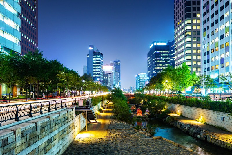 Cheonggyecheon in Seoul Korea