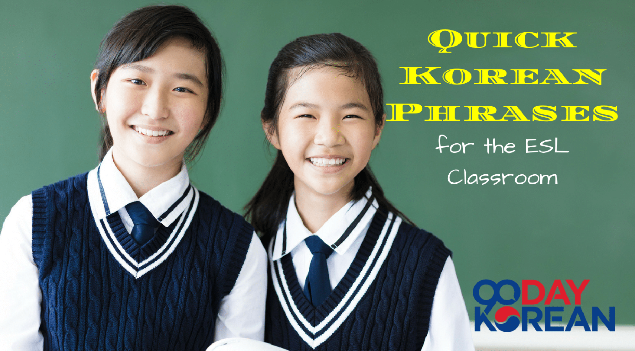 Korean students smiling in front of a chalkboard