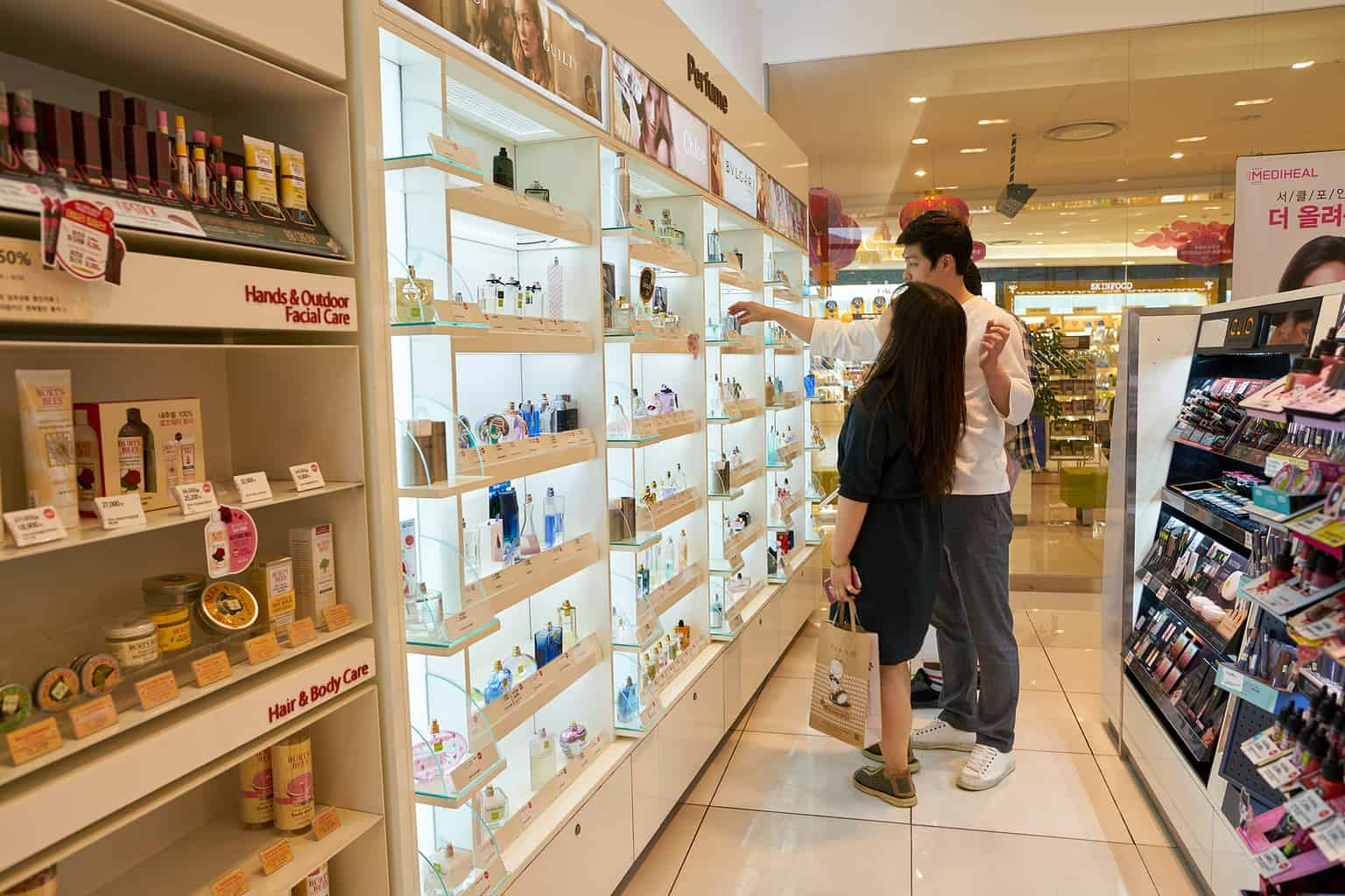 People shopping for makeup and cosmetics in Korea
