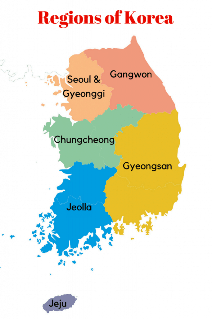 Picture of South Korea with selected provinces