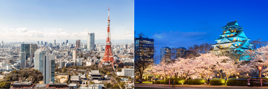 Picture of Tokyo skyline on the left and Osaka Castle on the right