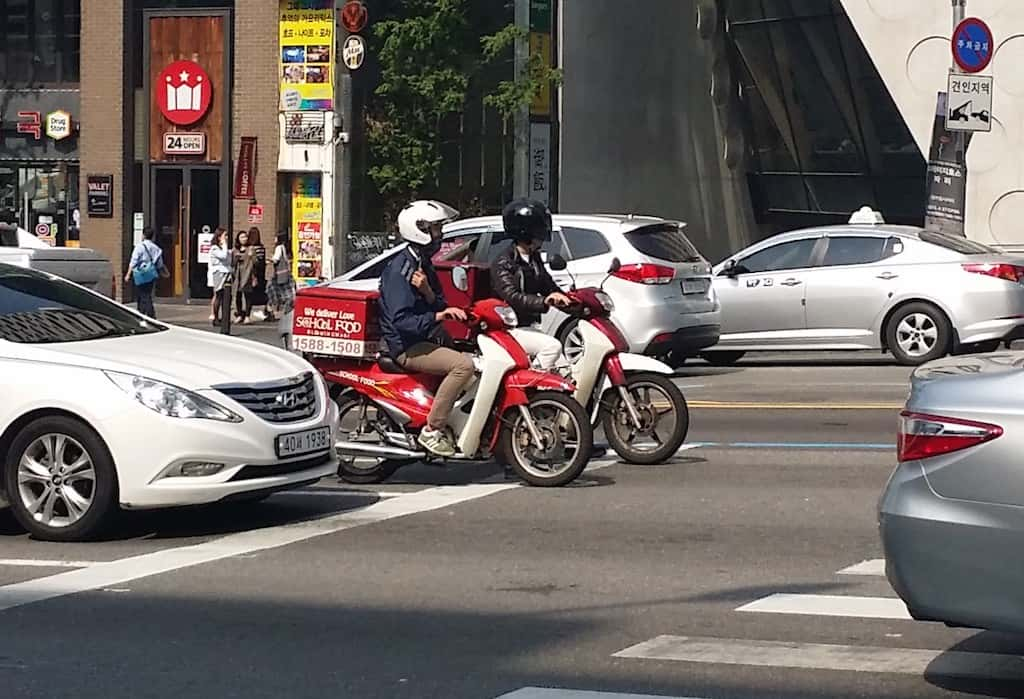Korean Food Delivery Motorcycles