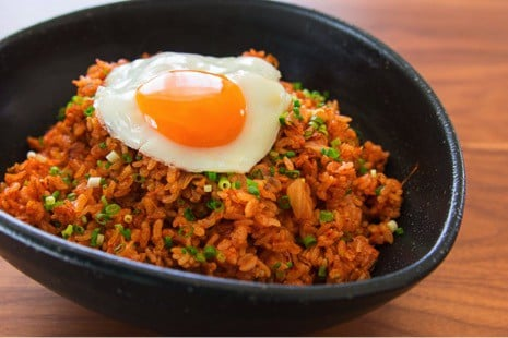 Korean street food kimchi fried rice