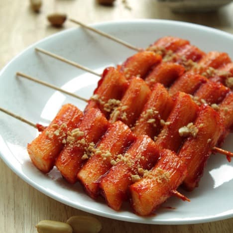 Korean street food rice cake skewers