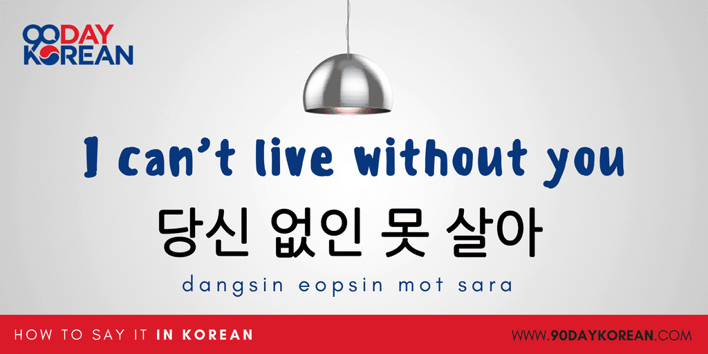 How to Say I love you in Korean - I can't live without you