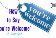 How to say you're welcome in Korean