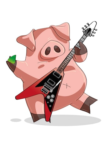 Korean joke pig guitar