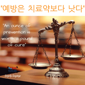 an ounce of prevention 한국어 속담 Korean Proverb