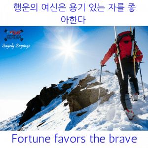 fortune favors the brave 한국어 속담 Korean Proverb