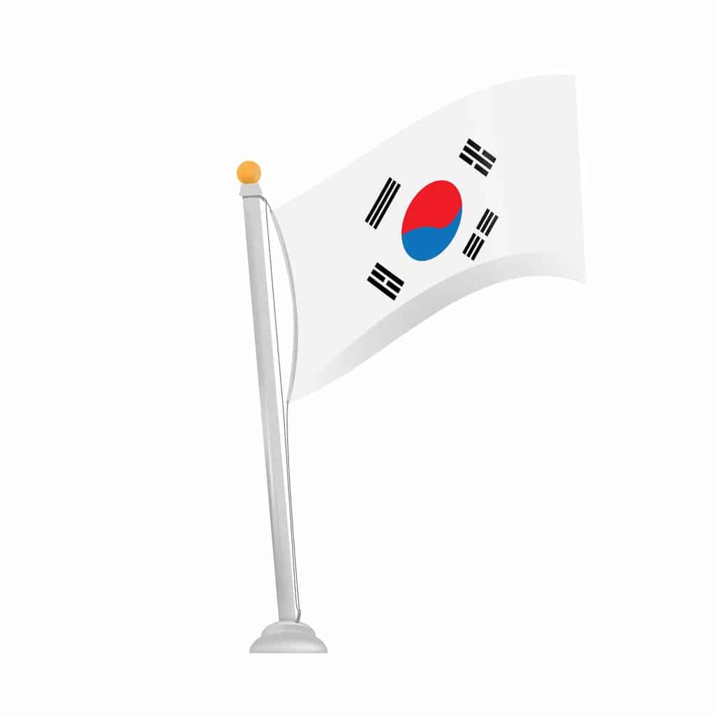 Isolated south korean flag on a white background
