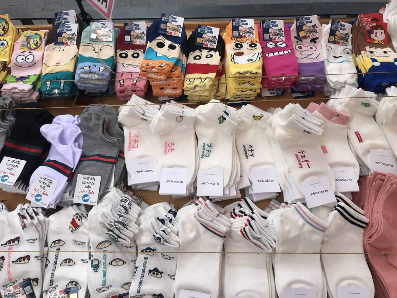 Various socks at a shop in Seoul, South Korea