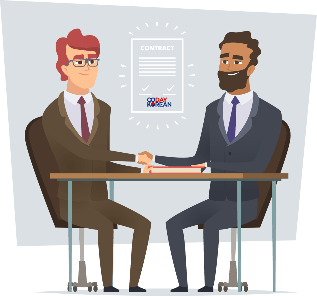 illustration of two businessmen having signed a contract sitting across from each other and shaking hands