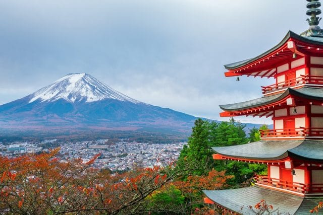 Mount Fuji, Chureito Pagoda In Autumn