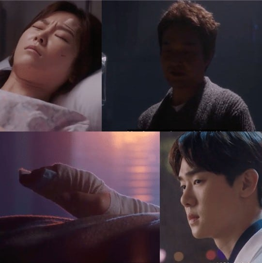 Picture of Doctor Kim looking at Yoon Seo-jung lying on the hospital bed and doctor Kang Dong-joo