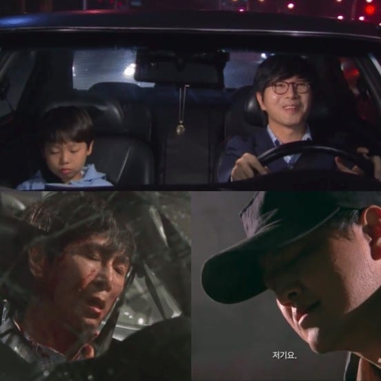 A middle-aged man driving a car with his son and got into a car accident