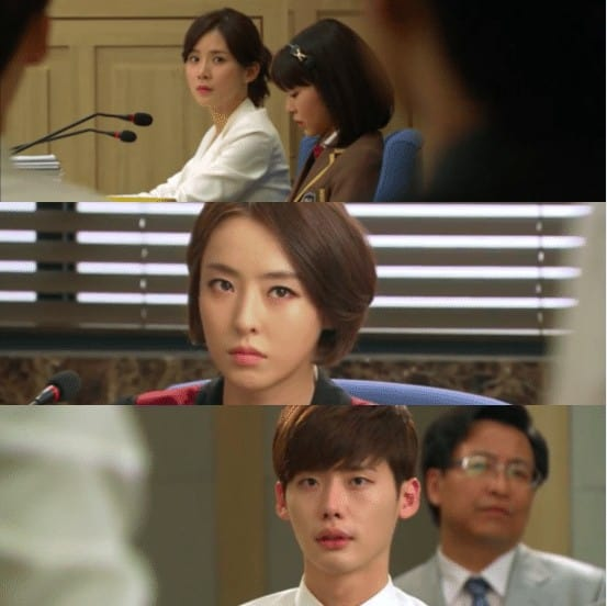 Photos of Jang Hye-sung defending Soo-bin, Doyeon prosecuting the Soo-bin and Park Soo-ha at the audience