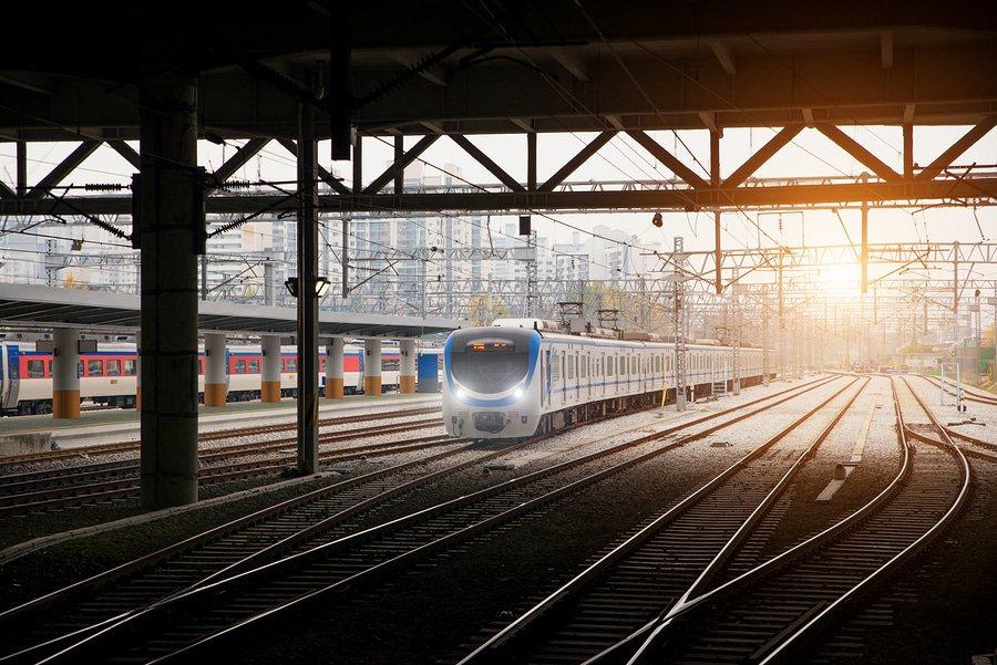 Korea Train On Railway With Skyline At Seoul, South Korea