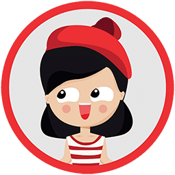 Illustration of a girl looking to her right with black hair and a red hat