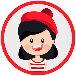 Illustration of a girl with a red hat and a red/white striped shirt