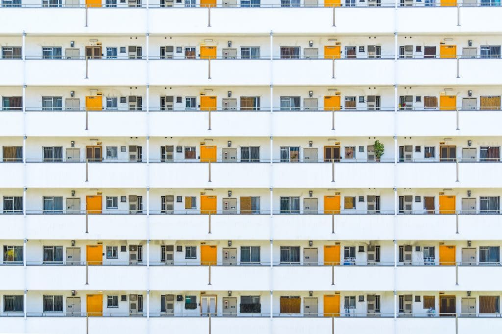 Apartment building with orange doors