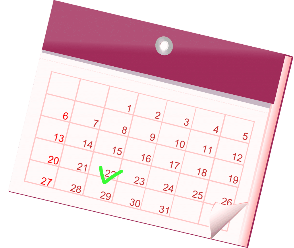 Purple calendar illustration with a green check mark on 22