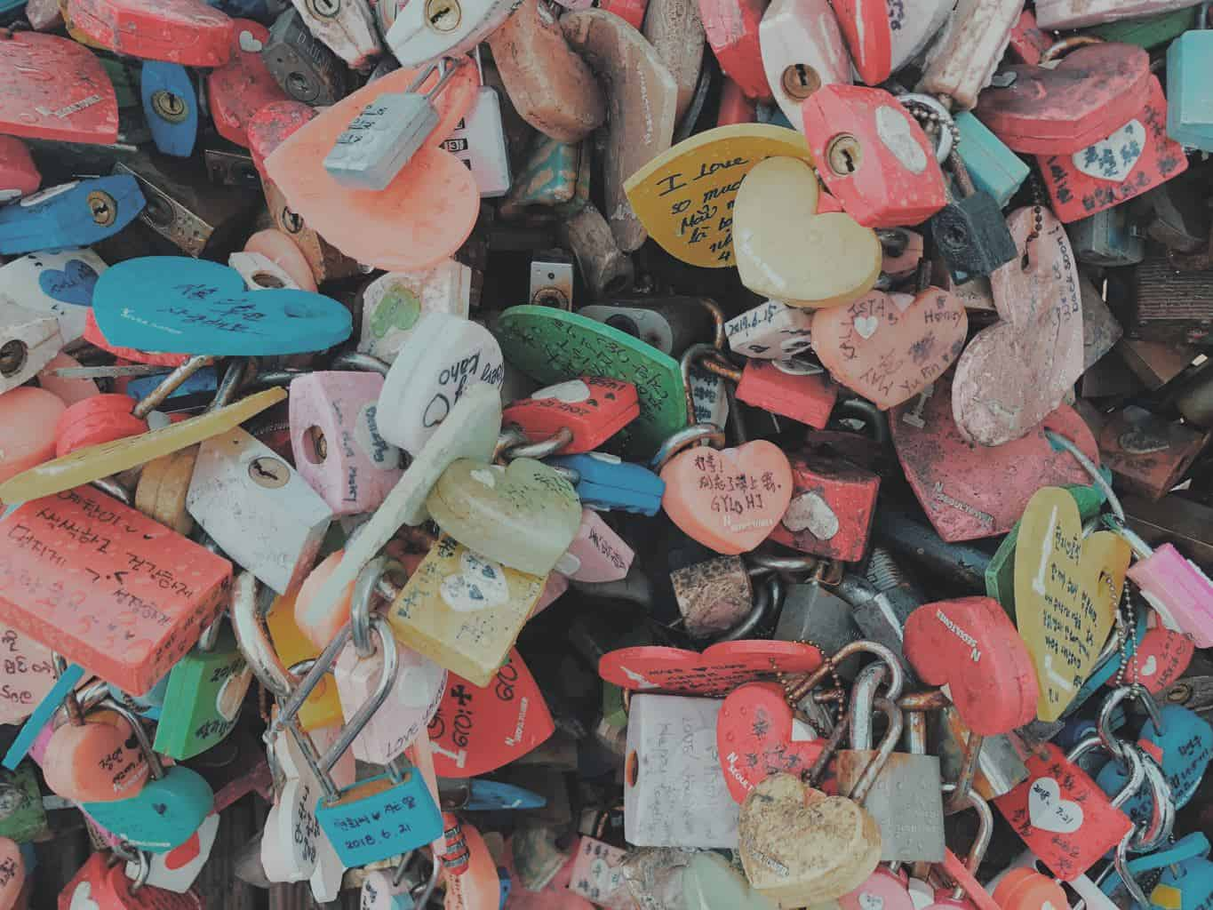 Locks from couples At Namsan Tower in Seoul, Korea