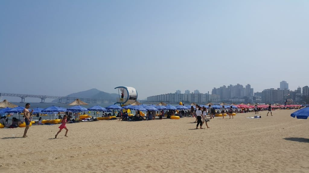 Sunny day at Gwanganli Beach in South Korea