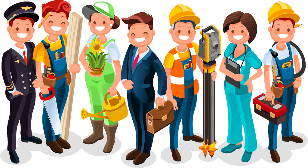 Illustration of people in various professions, such as airline pilot, carpenter, businessperson, florist, etc.