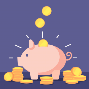 Illustration of a piggy bank with coins going in it with a purple background