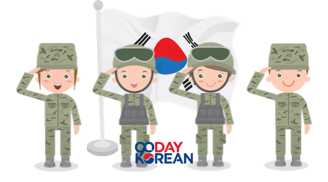Four soldiers saluting the South Korean flag