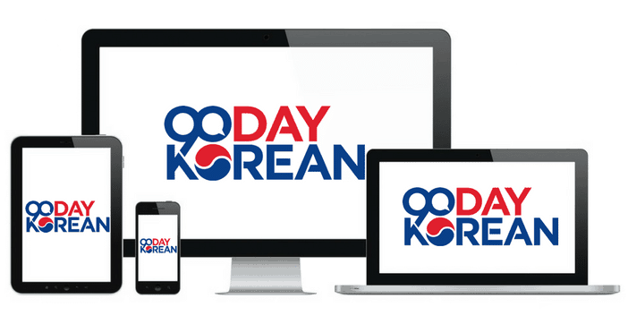 A computer tablet and smartphone with 90 Day Korean logon on them