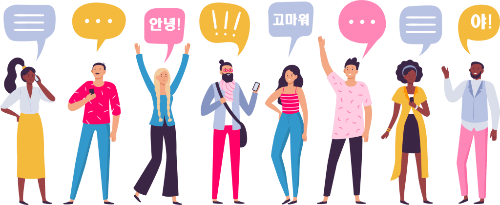 eight people communicating with Korean words