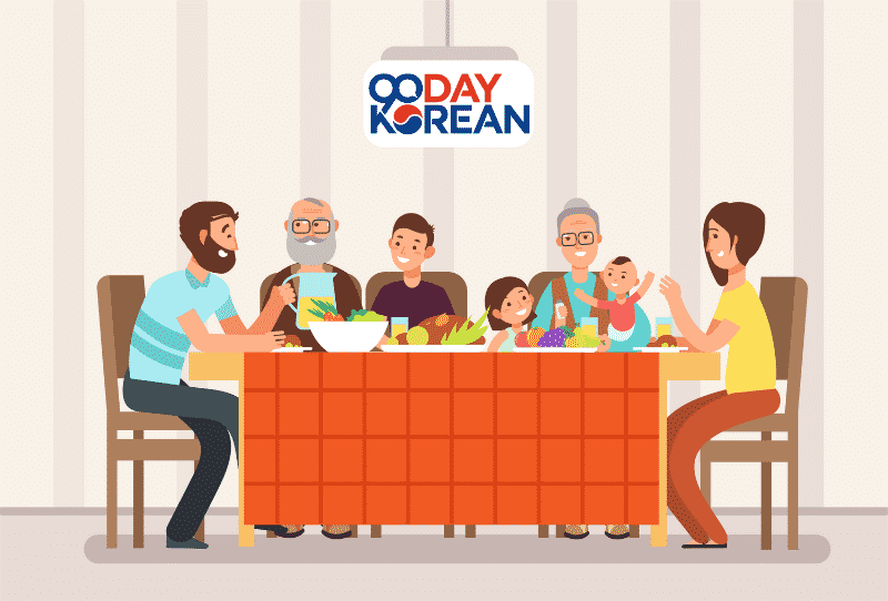 Illustration of happy family having dinner around an orange table