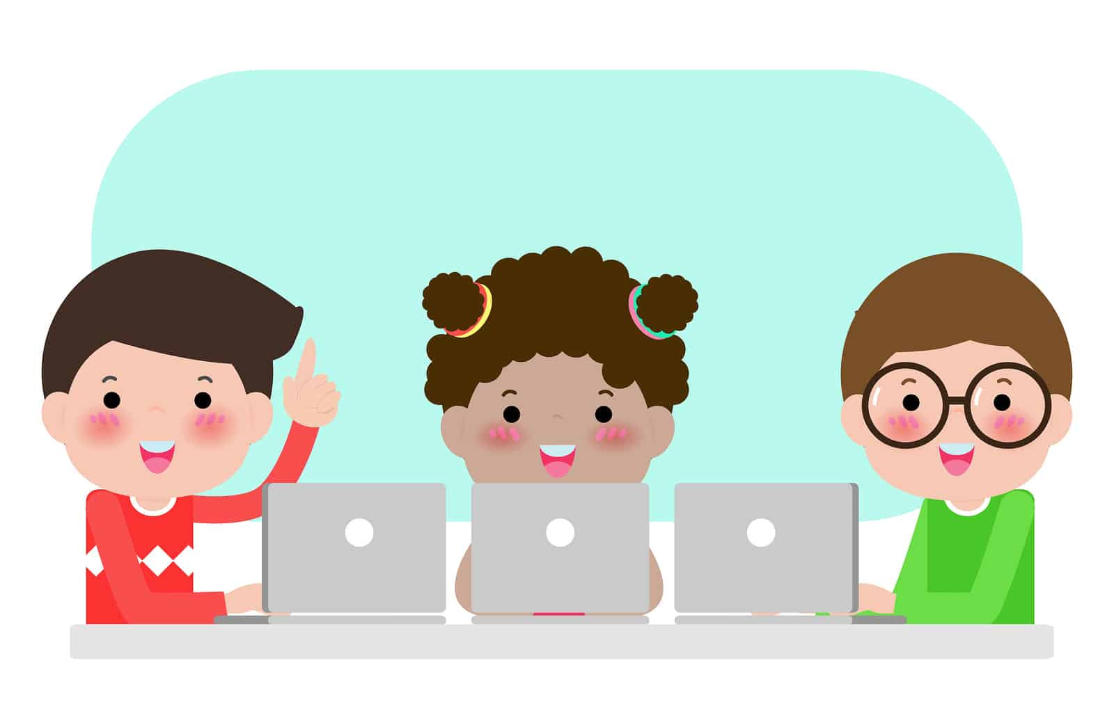Illustration of 3 kids studying at a computer